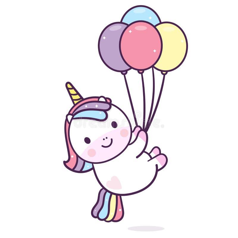 Ilustrador do vetor do unicórnio com cor pastel feliz da festa de anos do vetor do balão ilustração royalty free