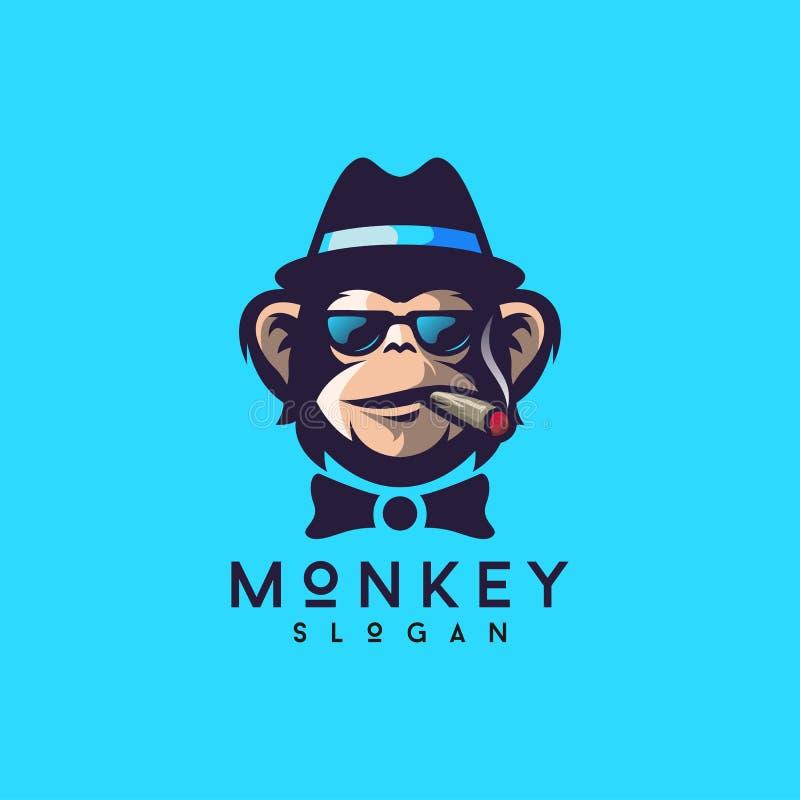 Ilustrador fresco do vetor do projeto do logotipo do macaco ilustração stock