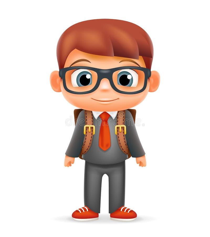 Ilustrador realístico do vetor do projeto do caráter 3d da educação do ícone dos desenhos animados da criança do laço do terno do ilustração stock