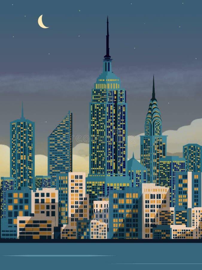 Ilustrastion de New York na noite, fundo do Empire State Building ilustração stock