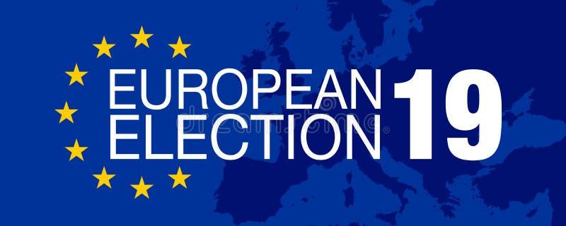 Ilustration με την ευρωπαϊκή εκλογή 2019 διανυσματική απεικόνιση