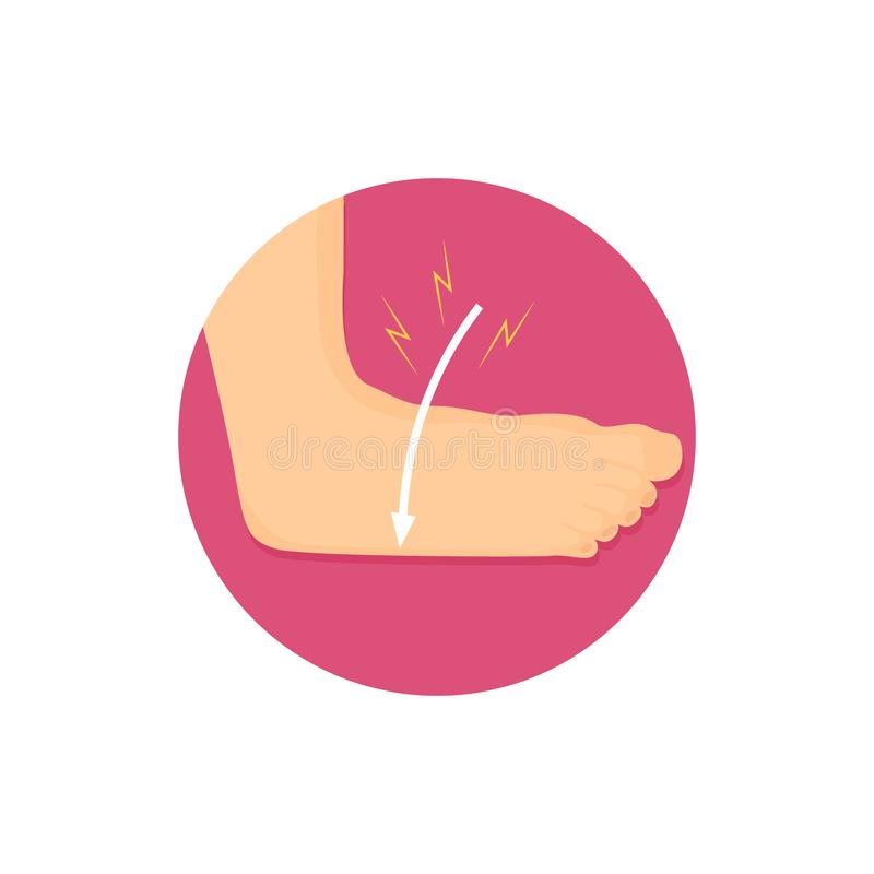 Ilustration of an ankle strain. Bone injury icon. stock illustration