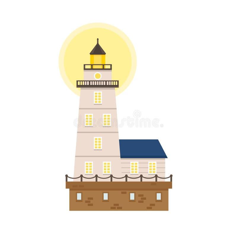 Ilustration colorido liso do vetor do farol fotos de stock royalty free