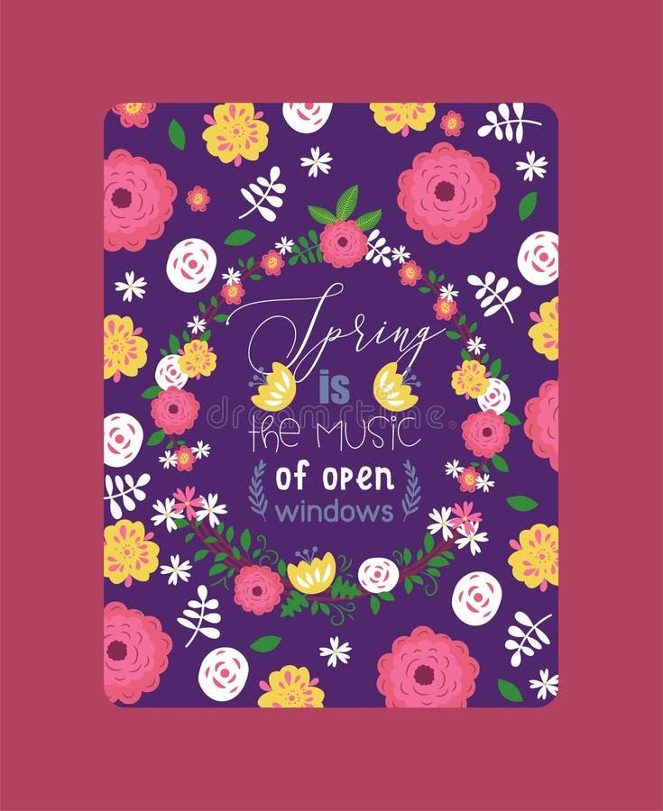 Ilustration de vecteur d'affiche de feuilles et de fleurs de guirlandes La fleur de l'usine, ressort est pr?s Branches avec la fl illustration de vecteur