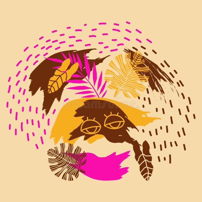 Ilustration del vector con las hojas y los ojos de la selva Fondo moderno de la selva para los carteles, impresiones, tarjetas, b ilustración del vector