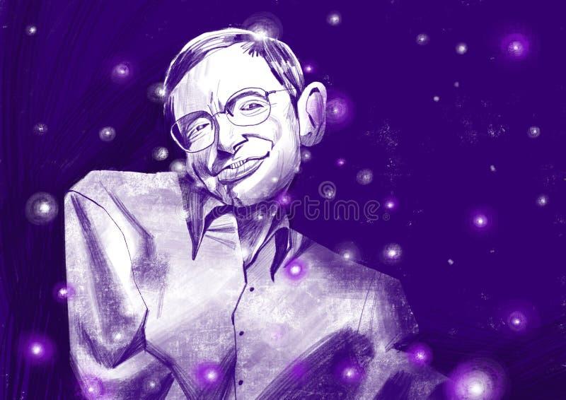 Ilustration do portraite de Stephen William Hawking Céu estrelado fotos de stock royalty free
