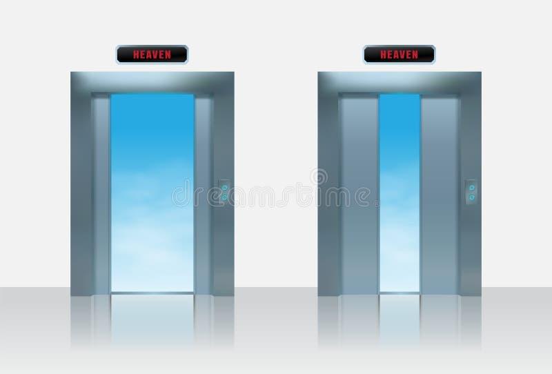 Ilustration do vetor do elevador do céu Metade realística da porta aberta do elevador do metal ao céu ilustração stock