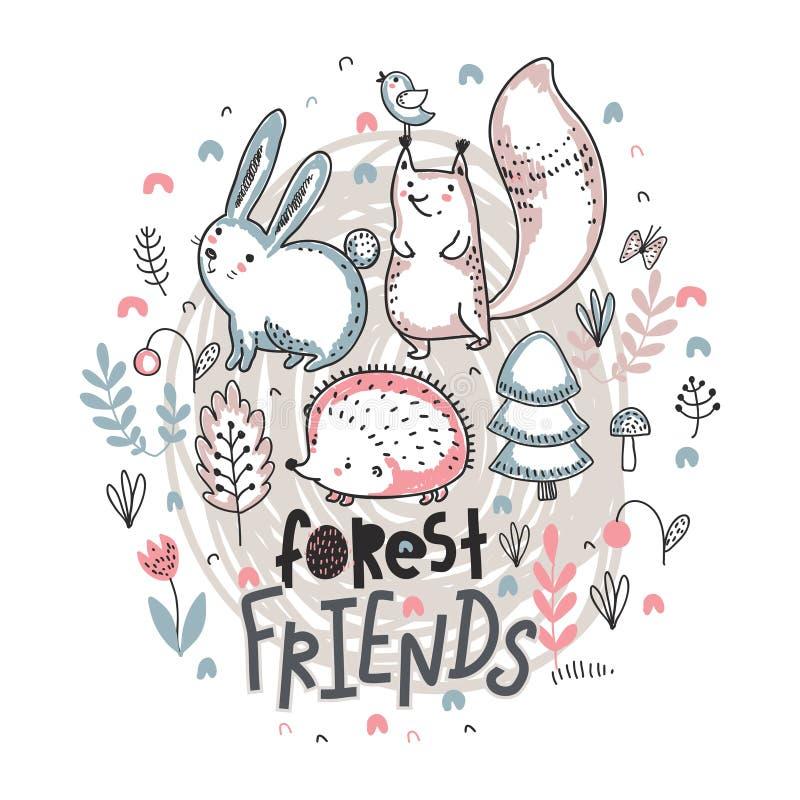 Ilustration do vetor mão bonito de animais tirados ilustração do vetor