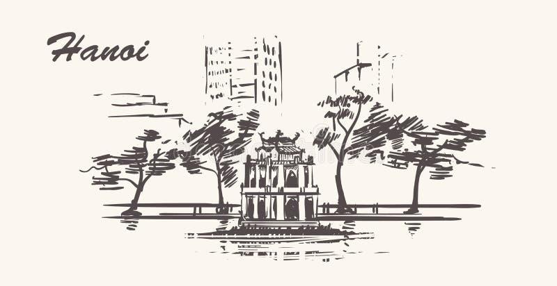 Ilustration exhausto del bosquejo de la mano de Hanoi Lago Hoan Kiem ilustración del vector