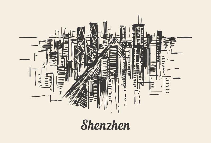 Ilustration exhausto del vector del bosquejo de la mano del horizonte de Shenzhen libre illustration