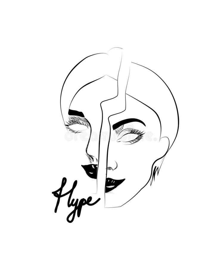 Ilustration för Hypeslogan- och flickaframsida vektor illustrationer