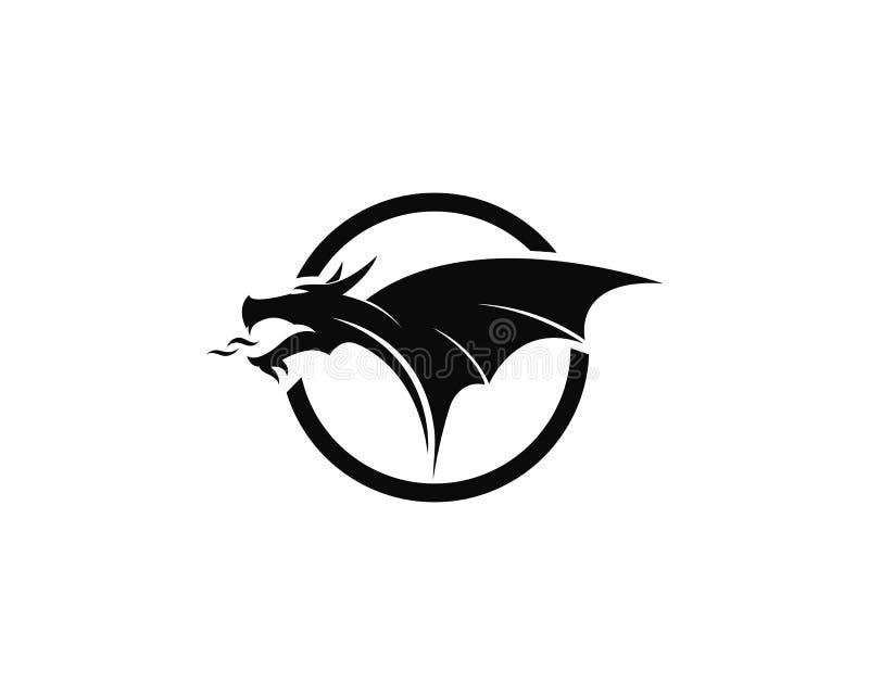 Ilustration för vektor för symbol för mall för drakelogovektor stock illustrationer