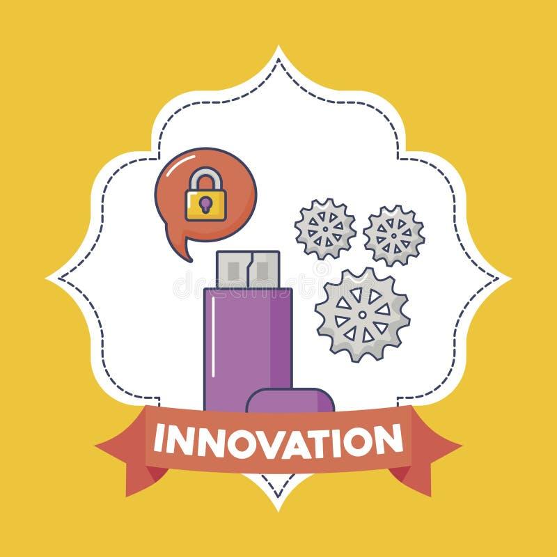 Ilustration för vektor för teknologi- och innovationdesignsymbol vektor illustrationer