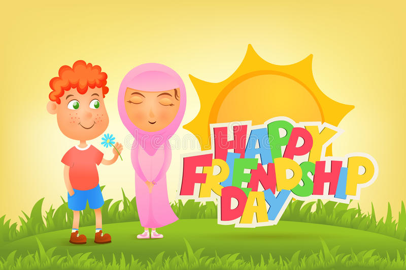 Ilustration with ginger boy and muslim girl. Friendship day concept stock illustration