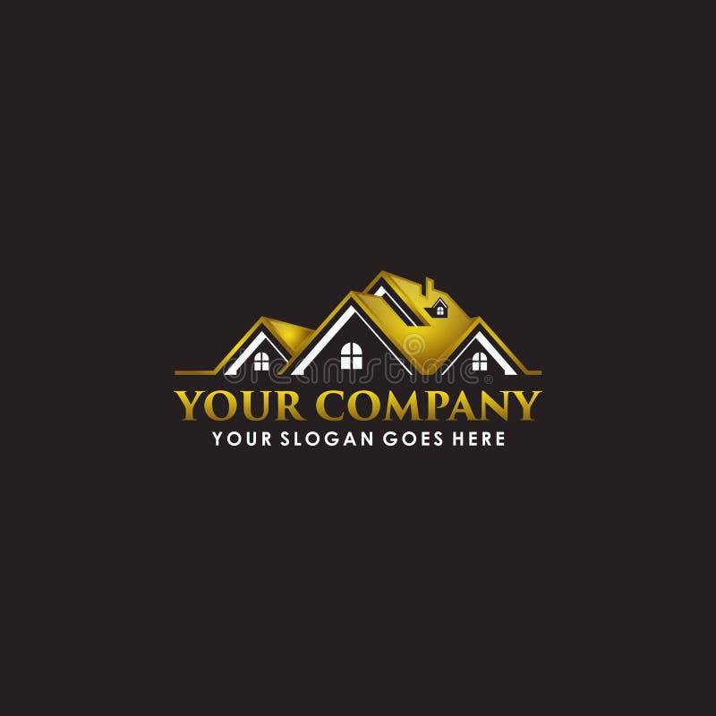 Ilustration lussuoso della società di logo del bene immobile dell'oro illustrazione di stock