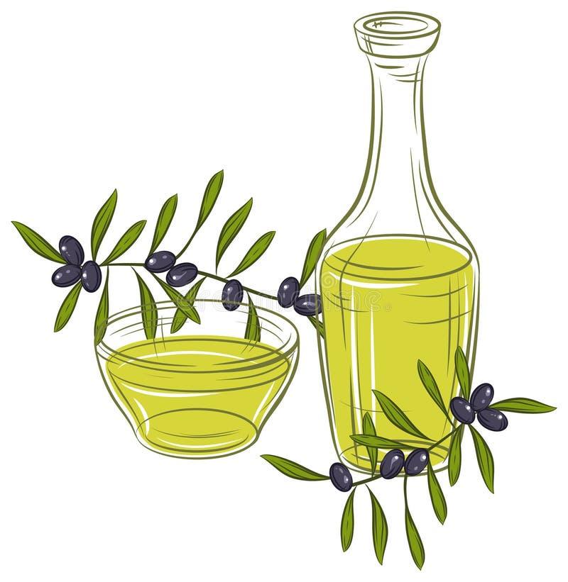 Ilustration med svarta oliv och flaskan av olja royaltyfri illustrationer