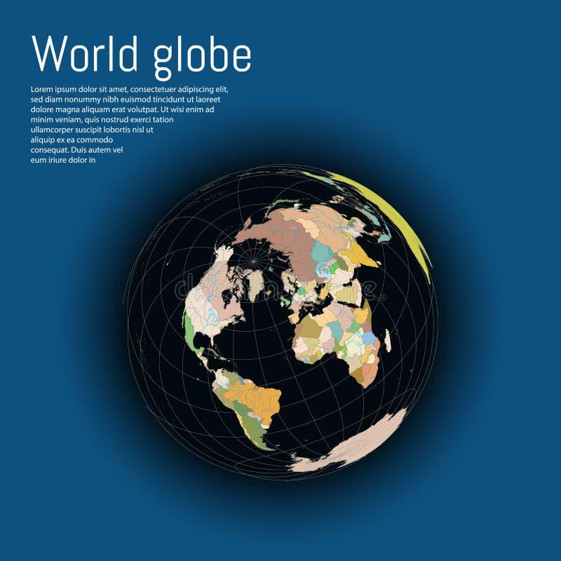 Ilustration moderne de vecteur de concept de carte du monde du globe 3d illustration stock