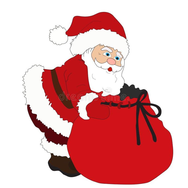 Ilustration pendant Noël et l'année neuve Le père noël _2 Sac avec des cadeaux Vecteur illustration libre de droits