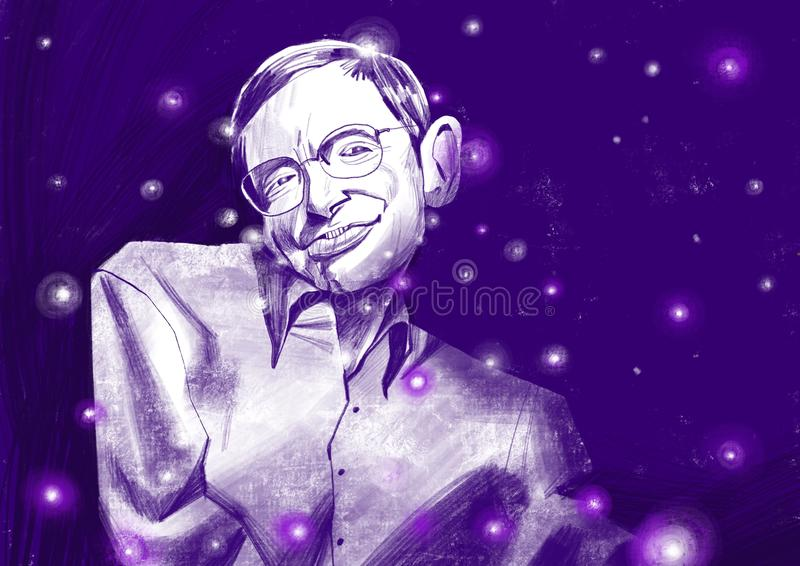Ilustration van Stephen William Hawking portraite Sterrige hemel royalty-vrije stock foto's