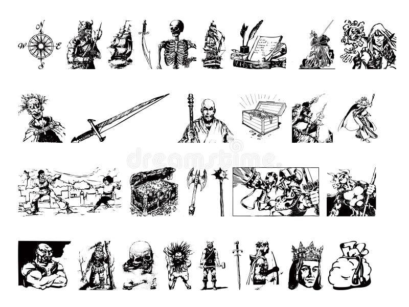 Ilustrations de charagne de mediavel illustration stock