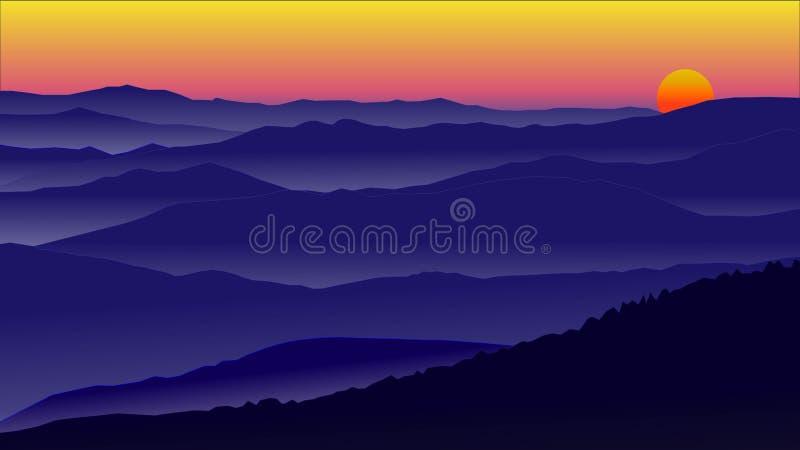 Ilustratora zmierzchu pięknego krajobrazowego nieba złocisty kolor z górą obraz royalty free