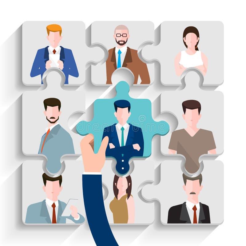 Ilustre o conceito de projeto o empregado encontrando Procurar de trabalho da hora O vetor ilustra ilustração do vetor