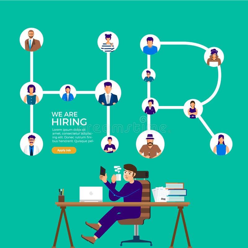 Ilustre o conceito de projeto o empregado encontrando Procurar de trabalho da hora O vetor ilustra ilustração royalty free