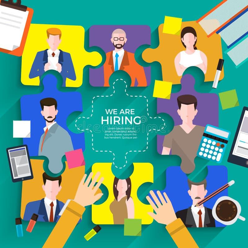 Ilustre o conceito de projeto o empregado encontrando Procurar de trabalho da hora O vetor ilustra ilustração stock