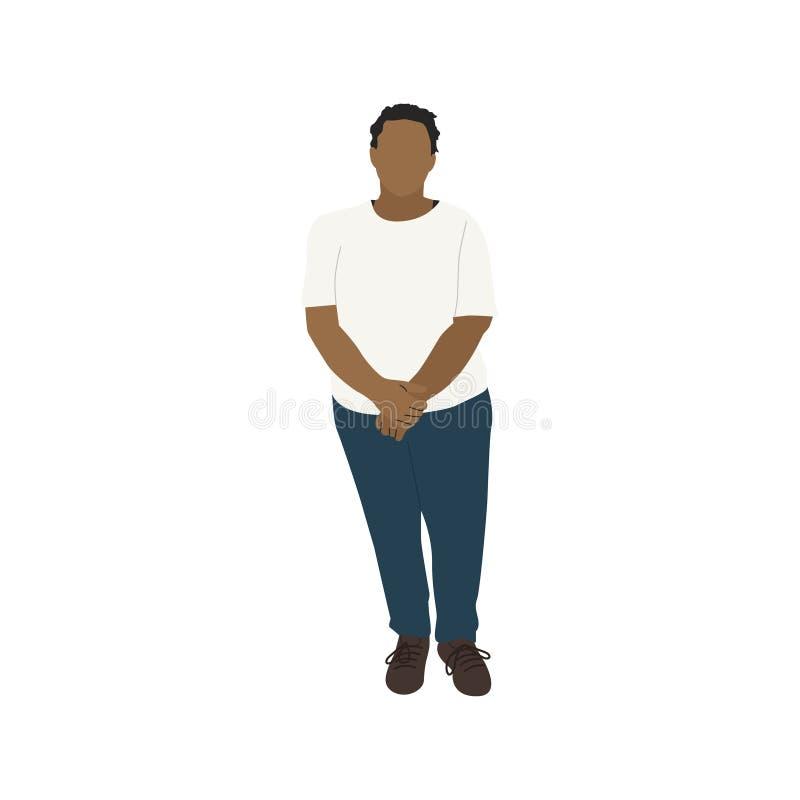 Ilustrujący beztwarzowy murzynka gest stoi samotnie ilustracji