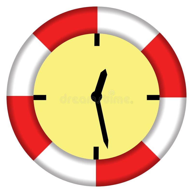 Ilustrujący wyrażeniowego oszczędzanie synchronizuje lifebuoy i zegarowego royalty ilustracja