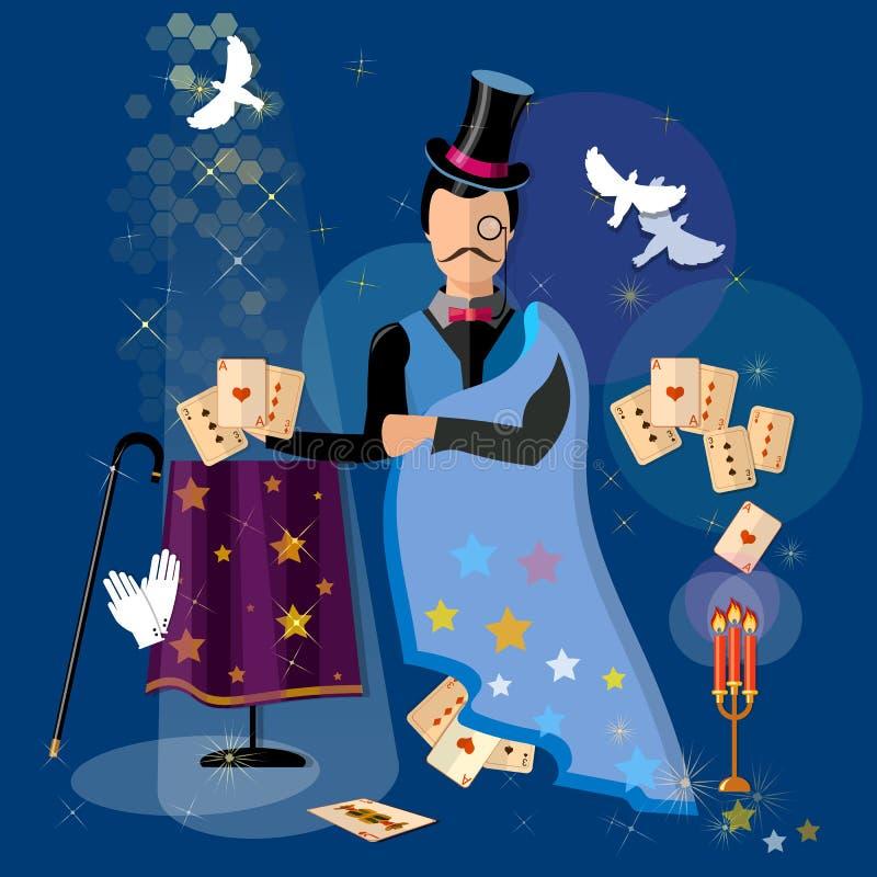 Iluzjonisty magik pokazuje sztuczkom magiczne karty royalty ilustracja