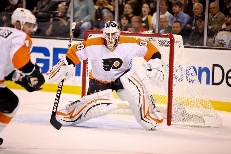 Ilya Brzygalov Philadelphia Flyers. Philadelphia Flyers goalie Ilya Brzygalov #30 royalty free stock photo