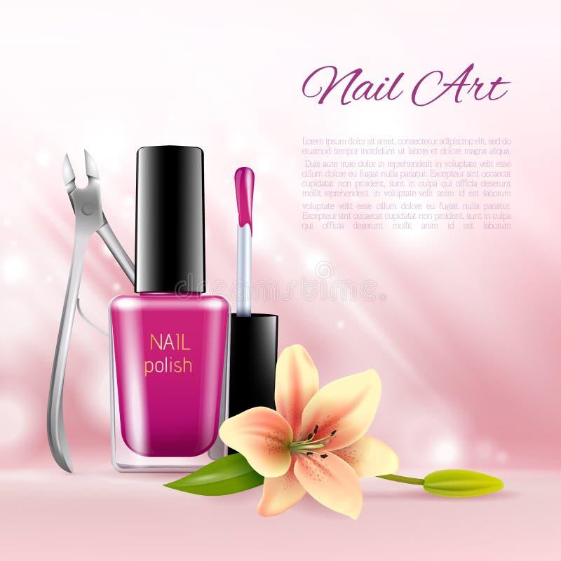 Imágenes cosméticas de los anuncios de la belleza del esmalte de uñas y de las pinzas con las flores blandas Ejemplo realista col stock de ilustración