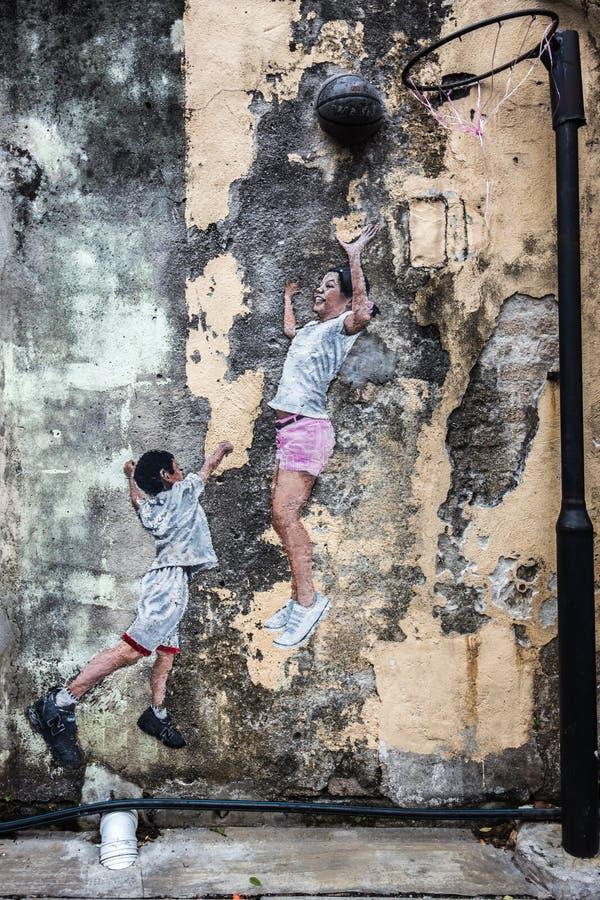 Imágenes de Georgetown Malasia en una pared Penang imagen de archivo