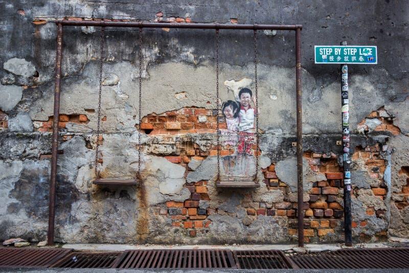 Imágenes de Georgetown Malasia en una pared Penang fotografía de archivo libre de regalías