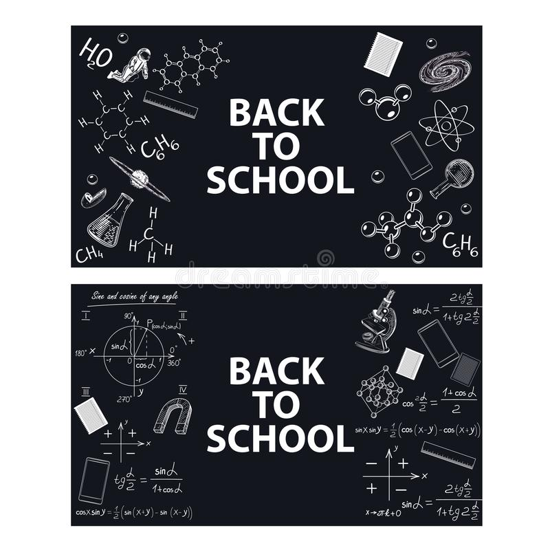 Imágenes de herramientas educativas y de fórmulas en un tablero de tiza stock de ilustración