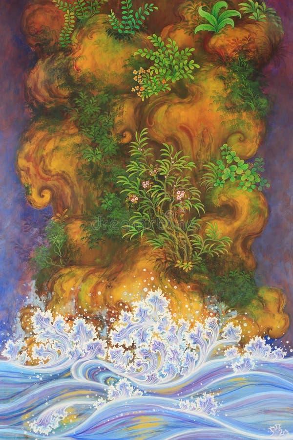 Imágenes de la naturaleza artísticas de la pintura y de la literatura tailandesas imagen de archivo libre de regalías