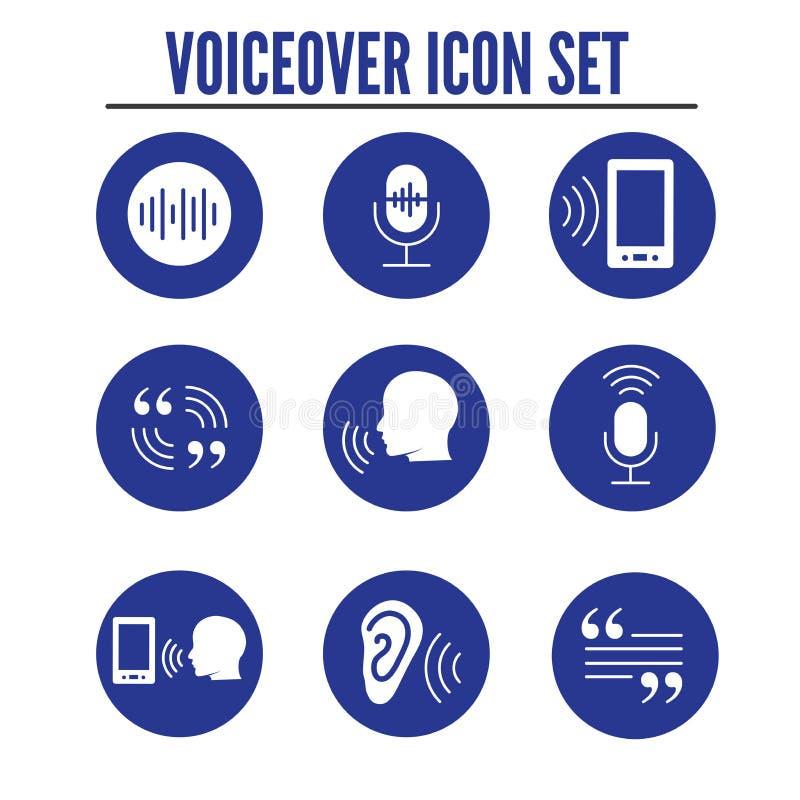 Imágenes de la onda acústica del icono w de la voz superpuesta o del control por voz stock de ilustración