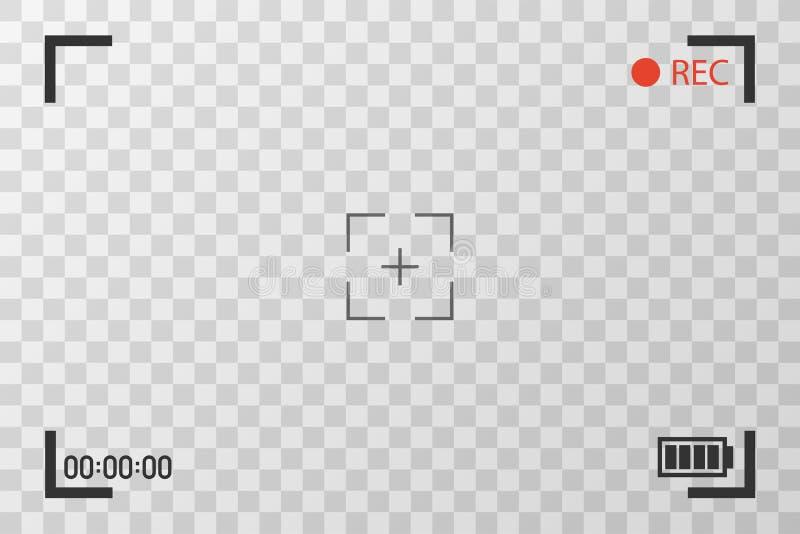 Imágenes de la visión de la opinión de la cámara Concentración visual de la pantalla Pantalla de la grabación de vídeo en un fond stock de ilustración