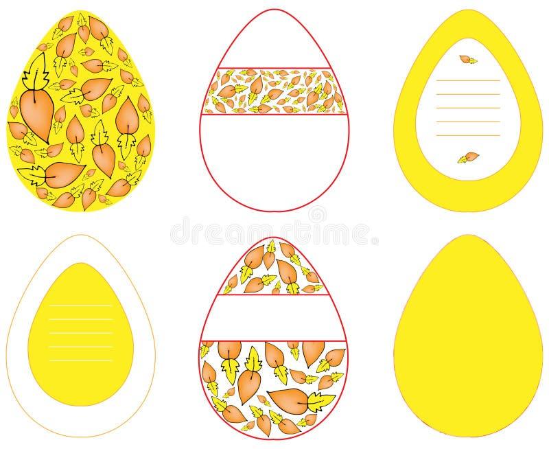 Imágenes de los huevos del vector con diversos modelos en amarillo en el fondo blanco stock de ilustración