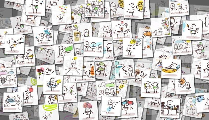 Imágenes dispersadas de la gente y de la vida cotidiana de la historieta stock de ilustración