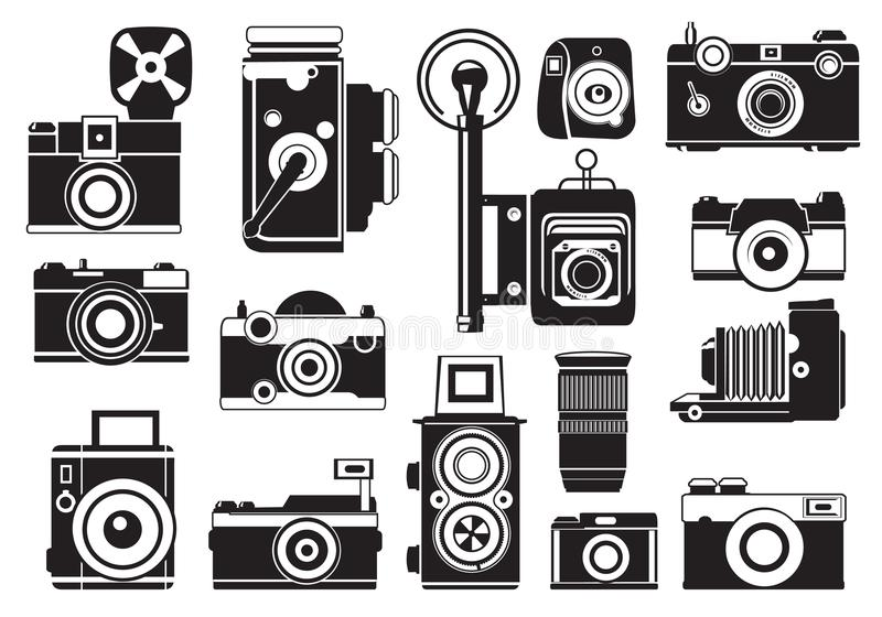 Imágenes fijadas de cámaras retras Ejemplos del monocromo del vector libre illustration