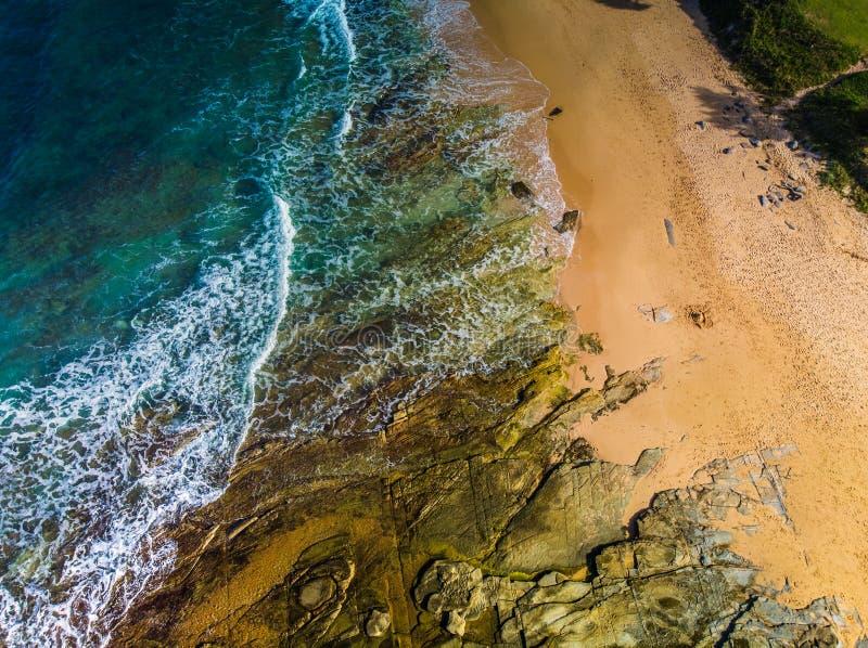 Imágenes panorámicas aéreas de Dicky Beach, Caloundra, Australia fotografía de archivo