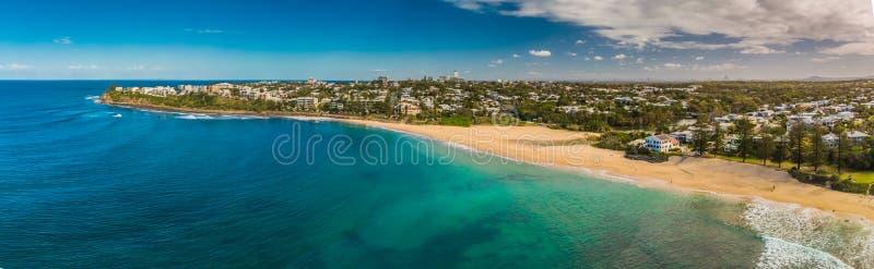 Imágenes panorámicas aéreas de Dicky Beach, Caloundra, Australia imagenes de archivo