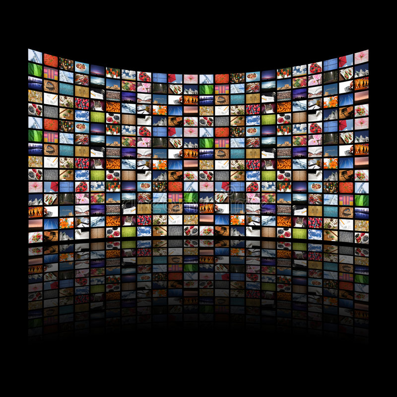 Imágenes que visualizan/información de las pantallas multi de los media libre illustration