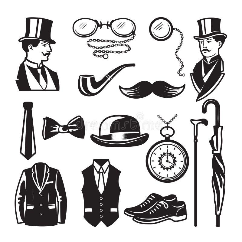 Imágenes retras en estilo del victorian Ejemplos para las etiquetas del club del caballero stock de ilustración
