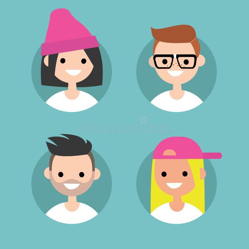 Imágenes/sistema del perfil de Millennials de retratos planos stock de ilustración