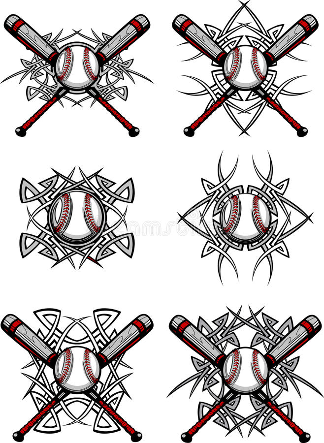 Imágenes tribales del vector del béisbol/del beísbol con pelota blanda libre illustration