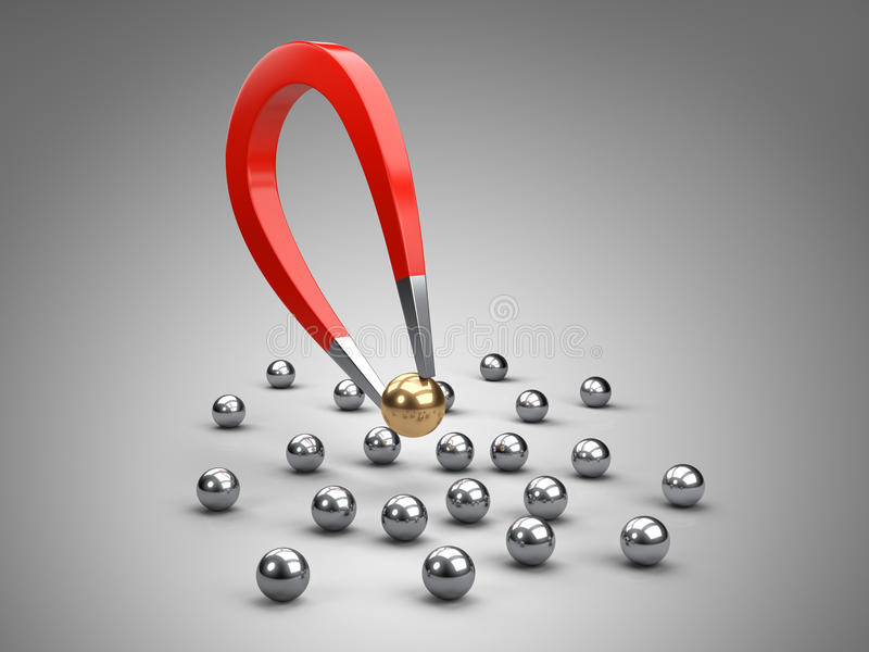 Imán que atrae la rodamiento de bolas del oro stock de ilustración