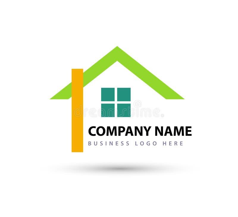 Imóveis abstratos Telhado da casa e ícone do elemento vetor do logotipo da casa Logotipo comercial Ícone da sua empresa ilustração stock